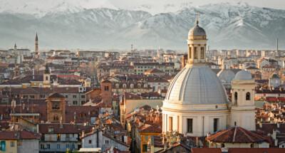 Turin,(torino),,Panorama,With,Snowy,Alps