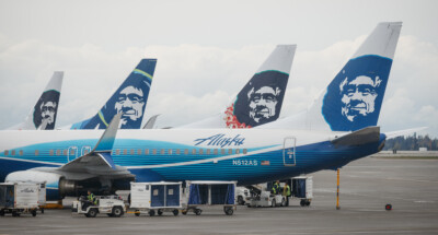 Alaska,Airlines,Boeing,737,Airplanes,Prepare,For,Take,Of,At