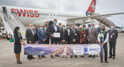 Swiss Ponta Delgada Banner on runway